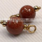 Brick Red Gold Sandstone Charms, Red Brown & Gold Jewelry Making Supplies, 4 Add On Charms, Loose Gold Sparkle Charm Supply