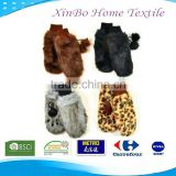 Boutique Luxury faux fur animal print mittens gloves