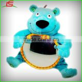 wholesale blue bear plush baby musical toy with round plastic mirror