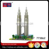 2351pcs building block for Kuala Lampur Petronas Tower diamond block for sale
