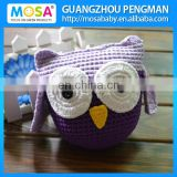 Baby Girl Crochet Stuffed Animal OWL Doll With Ears Lavender + Purple Color Yellow Break