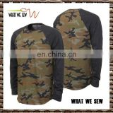 60%cotton 40%polyester camo pattern mens gym sports Tee shirts long sleeves custom running t-shirts 2016