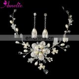 Marvelous and Enchanting Pearl Necklace And Earring With Wedding Hair Comb Set Hair Jewellery