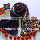 New Style Knitted Wool Scarf with Pompons