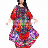 Women's Multi Colour Party Wear Kaftan / Fusion Style 3D Digital Printed Colourful Kaftan (kaftan dress)