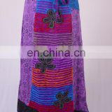 Stylish Razor Cut Embroidered Floral Patches & Print Purple Daffodil Maxi Wrap Around Summer Skirt HHCS 116 C