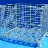 Portable industrial foldable steel cage container