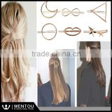 Wholesale Chic Golden Shining Hair Accessories Open Twist Triangle Hair Clip                                                                         Quality Choice