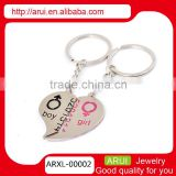 Couple heart key chain promotion charm metal custom keychain