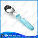 Measuring stainless steel ice cream scoop with plastic handle