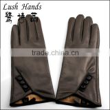 new 2016 winter mens touch screen brown leather gloves with buttons
