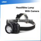 (160424) ABS lithium battery /USB rechargeable led headlamp with camera or video recorder