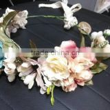 HL018 New Fashion Artificial tiara flower crown headband for wedding garland bridal headdress