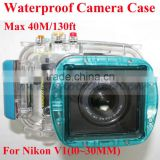 digital waterproof camera case for Nikon V1(l0~30MM), 40m/ 130ft depth underwater camera housing, protective cases for Nikon