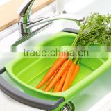 2015 Best Selling Collapsible Over the Sink Colander/collapsible silicone colander/Foldable plastic colander/folding strainers