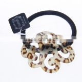 korean fashion leopard brown plastic acrylic decorative square elastic curly hair ties hair accessory