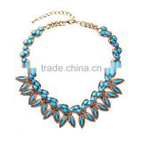 Blue beads with leaf alloy choker statement necklace 2015, chunky necklace, heavy indian bridal necklace sets