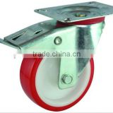 PU industrial caster, top plate swivel with double brake, PU on nylon castor