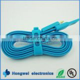 Blue ultra thin TPE flat micro USB cables for samsung Nexus with foil shielding enable fast data transfer