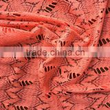 polyester african george lace fabric coral color bee butterfly design lace fabric and french swiss lace fabric