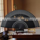 Antiquity black silk folding fan Chinese style men carving craft fan Shan Gu gift Japanese folding fan in summer