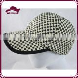 Black and white plaid straw baseball cap paper sun hat