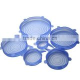 Set of 6 Silicone Stretch Lids Stretchable Reusable Durable Kitchen Gadget Dishwasher and Freezer Safe Preserve Food