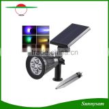 Wall Mounted LED Outdoor Solar Lamp 4 LEDS RGB Solar Lawn Spike Light For Garden Decoration