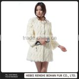Hot Sale Plus Imports Rabbit Hair Fox Fur Collar Long Coat Jianhua