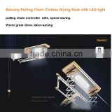 Aluminum Manual Balcony Pulling Chain Clothes Drying Rack with LED light