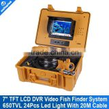 "7"" TFT LCD DVR Video Fish Finder System With HD CCD 650TVL Underwater Camera Cable 20M(66ft) Version Support 16GB SD Card"