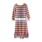 Cheap fashion teenager kids long dress cotton knit colorful striped girls boutqiue maxi dress wholesale children halloween dress