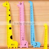 Promotion student gift DIY creative stationery cartoon giraffe animal series shaped Personalized ruler school kids plastic ruler