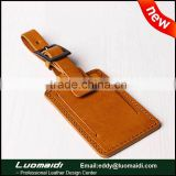 retro genuine cowhide leather luggage tag from China factory,custom embossed and laser engraving logo luggage tags