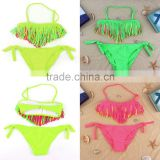 Bikini Swimsuit Fluorescent For Girls Children Kids Swimwear Fashion Color