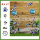 Best seller Iron & glass peacock stakes set with ball lighting for garden decoration