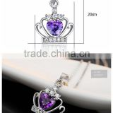Purple heart shape crystal rhinestone crown pendant necklace-Bridesmaid / Flowergirl gift