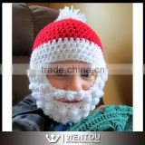 Crochet Santa Bearded Beanie, Santa Beard Hat with Detachable beard