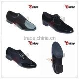 Newest design black shiny patent leather latin dance shoes for men genuine leather outsole factory wholesale price