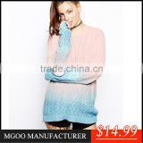 MGOO High Quality 2015 Brand Design Women Fashion Tie Dye Sweaters Long Sleeves Pullover Knitted Stock Brand Winter Clothing