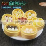 Simulation food pendant creative steamer key chain 4cm small drawer with key ring buns dumplings jewelry