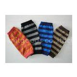 Custom Stripe Knitted Arm Warmer , Eco-friendly Long Fingerless Gloves For Winter