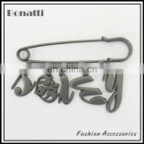 metal brooch pins with letters