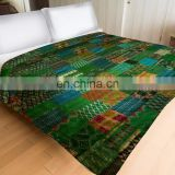 Indian Latest Vintage Indian Green Silk Sari patchwork Handmade Kantha Quilt Bedspread- KING