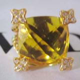 Gold Plated Silver Jewelry 15mm Citrine Cushion on Point Ring(R-138)