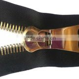 15# Fashion metal zipper with gold teeth