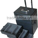 classics pattern aluminum cosmetic trolley case with makeup factory direct