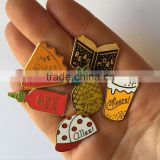 hard enamel custom cake, opened book , fruit pineapple, hat shaped metal lapel pins for backpacks