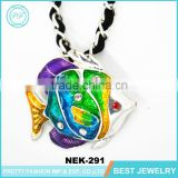 2016 fashion accessories enamel fish rhinestone pendant necklace