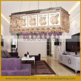 Modern purple color rectangular crystal chandelier